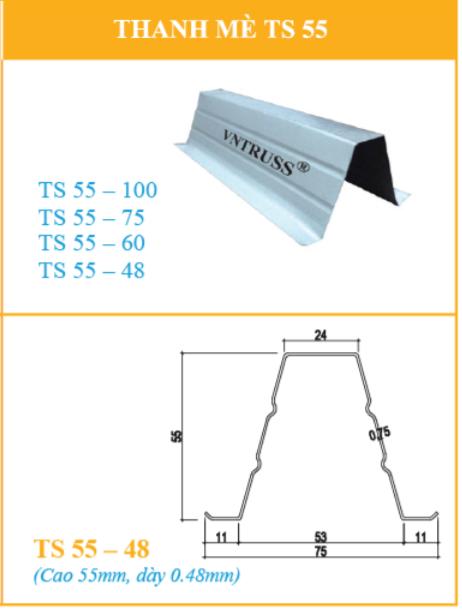 Mua Thanh Cầu Phong TS55.48 và TS55.60 và TS55.75 Thép Siêu Nhẹ VNTRUSS